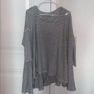 FREE PEOPLE — black/white striped tunic